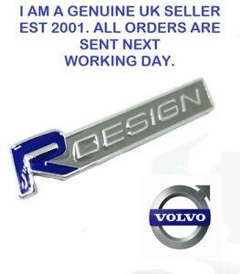 R DESIGN  BLUE/ OLIVE/GREY CHROME  Metal Adhesive Badge Logo  Emblem. FITS VOLVO