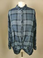 Next Women's Top Shirt Tie Front Blue Check Print Long Sleeve Casual Relaxed 16