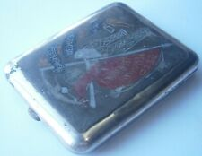 Ussr Rare Cigarette case 1920-30 Award from Soviet Mining Union Map Flag Ukraine