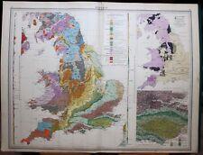 1939 SURVEY MAP ENGLAND & WALES GEOLOGY CHALK JURRAISC CRETACEOUS COAL & IRON