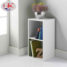 More details for  white 2 tier cube bookcase shelving display wood furniture storage unit