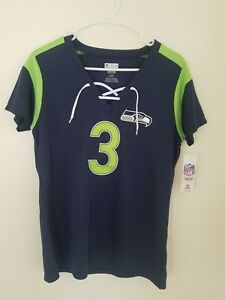 New NFL Team Apparel Seattle Seahawks #3 Russell Wilson V-Neck Shirt Womens NWT