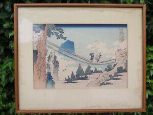 Framed Hokusai Woodblock Print Suspension Bridge Hida Etchū Provinces 20 x 16.75