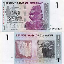 Zimbabwe 1 Dollar 2007 Uncirculated banknote x 5 consecutive notes P65