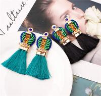 Women Vintage Bohemian Boho Dangle Long Tassel Fringe Ear Drop Earrings Jewelry