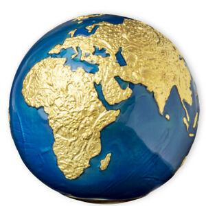 Barbados 2021 5$ BLUE MARBLE Gold Plating Planet Earth Spherical 3oz Silver Coin