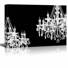 "Canvas Wall Art - Two Crystal White Chandeliers on Black Background - 16""x24"""