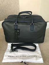 MARC BY MARC JACOBS BLUE & GREY LEATHER COLOUR BLOCK HOLDALL WEEKEND BAG BNWT