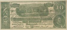 1864 10 Dollars Confederate Facsimile Ad Note Bill Scott'S No Tip Barber Shop