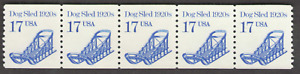 US. 2135. 17c. Dog Sled 1920s. Coil Strip of 5. Mint. NH. 1986