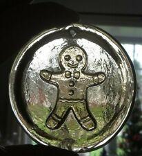 Blenko Suncatcher or tree ornament- Gingerbread Man in Bronze