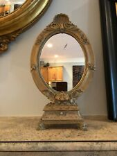 """Vtg Victorian Style Dressing Table Oval Mirror On Stand W/Drawer 15"""""""