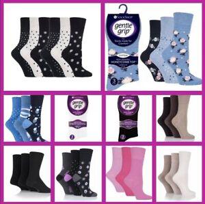 Ladies Lot Gentle Grip Socks by SOCK SHOP- Size 4-8 Patterns & Plain Designs