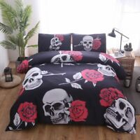 Skull Rose Duvet Cover Set Pillow Case Twin Full Queen King Bedding Set Gothic