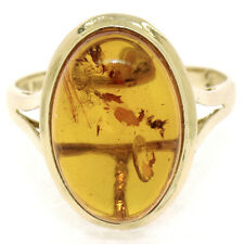Vintage Handmade 14k Yellow Gold Oval Cabochon Natural Amber Solitaire Ring Sz 7