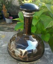 VINTAGE BROWN GLASS DECANTER WITH SILVER FISH DESIGN