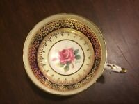 Vintage PARAGON PINK CABBAGE ROSE COBALT BLUE and GOLD footed TEA CUP