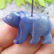 Y013439 Beautiful Blue Agate Carved Polar Bear Pendant Bead