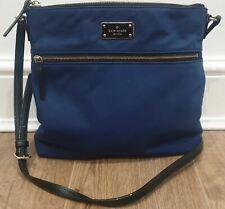 KATE SPADE Royal Blue Fabric Slim Width Black Crossbody / Shoulder Strap Bag