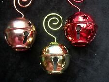 Jingle Bell Ornaments or Christmas Card Holders Star Cut Outs Metal Swirl Lot 3