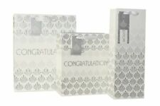 CONGRATULATIONS  LARGE GIFT BAG - WHITE & SILVER WITH GIFT TAG & BAG SEAL
