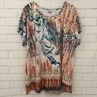 Avenue Top Multicolor Embellished Short Sleeve Stretch Top Sheer Hem Size 14/16