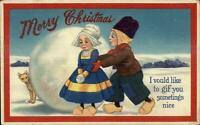 Christmas - Dutch Children Boy Gives Girl a Dog c1910 Postcard