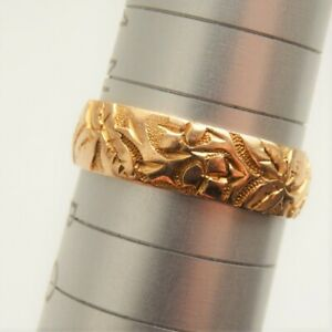 Antique Victorian 18ct Gold Foliate Engraved Wedding Ring c1892; UK Size 'O 1/2'