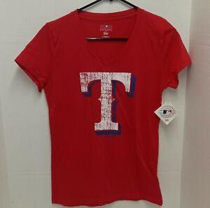 Texas Rangers 2016 Red Distressed Style V Neck TShirt - Women's M **NWT**