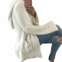 Long Sleeve Ladies Knitted Fluffy Cardigan Sweater Pocket Ladies Coat Jacket