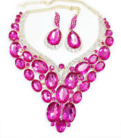 Statement Choker Necklace Earring Set Hot Pink Pagent