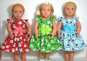 CLOTHES FOR 18INCH DOLL ~ OUR GENERATION, AMERICAN GIRL CHRISTMAS SNOWMAN DRESS