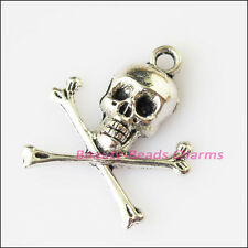 8Pcs Antiqued Silver Tone Halloween Human Skull Charms Pendants 21x24mm