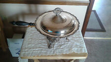 Vintage Silverplate Buffet Chafing Dish with Rare Wick Heater 5 Piece