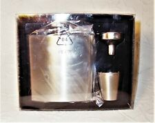 7 Oz. Polished Stainless Steel Flask w/ 2 Metal Shot Cups & Funnel Gift Set New