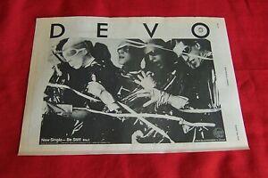 DEVO ORIGINAL 1978 VINTAGE MUSIC PRESS POSTER ADVERT - BE STIFF SINGLE NEW WAVE
