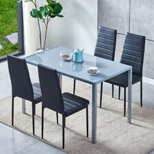 5-Piece Kitchen Dining Table Set Tempered Glass Table and 4 Faux Leather Chairs