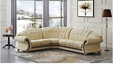 Versace Cleopatra Sectional Sofa Living Room Set in Ivory Italian Leather