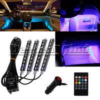 4* 12V 9 LED Car RGB Interior Strip Light Bars Wireless Music IR Control 7 Color