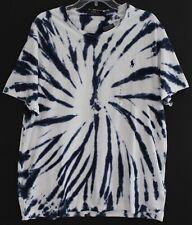Polo Ralph Lauren Mens Navy Blue Tie-Dye Crewneck Cotton T-Shirt NWT Size XL