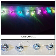 10 Mosaic Mirror Disco Balls Led Colours Lights 2.10m String, Battery Operated