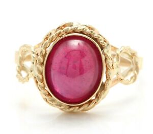 2.20 Carat Natural Cabochon Red Ruby in 14K Solid Yellow Gold Women Ring