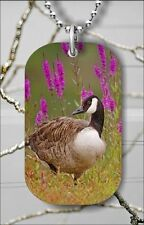 BIRD CANADA GOOSE IN FLOWERED MEADOW DOG TAG NECKLACE PENDANT FREE CHAIN -jw6t