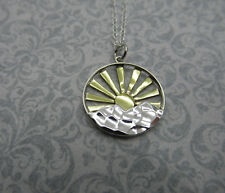 Mountain & Sun Rays Necklace - Sterling Silver - Sunrise Nature Hiking Pendant