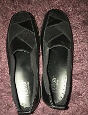 Hotter Imperial Black Leather Flat Shoes Size 5