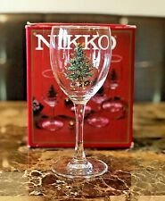 NIKKO Christmas Tree Design Wine Glassware 1 Set of 4