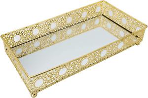 Vanity Tray Mirror Organizer Vintage Gold Dresser Perfume Cologne Holder NEW