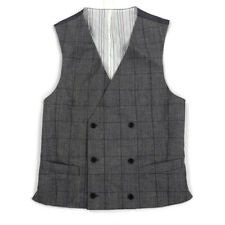 Lauren Ralph Lauren Mens Vested Suit Vest Waistcoat Wool Gray Plaid Sz Small