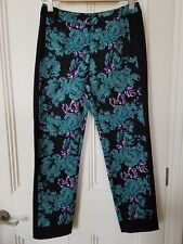TopShop floral print ankle grazer trousers size 8- black with green print