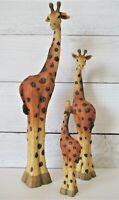 3 Giraffe Figurines Statues Resin ? Family Tall Mom Dad Baby VHTF Wildlife